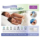 Allerzip Completely Encased Single Mattress Protector (90 x 190 x 18cm) Cotton Terry Top