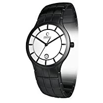 Obaku Harmony Mens Titan Glass Watch - Black Band / White Face - V101GBWSBS-015