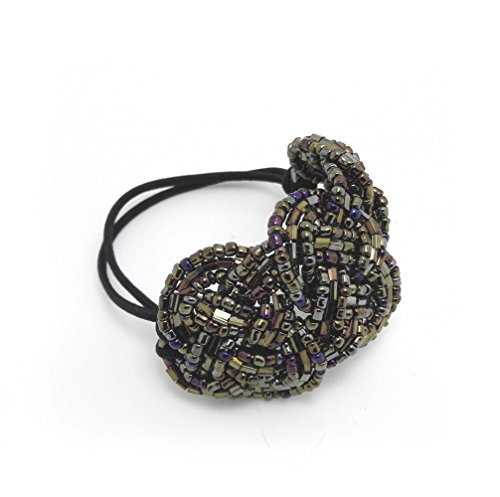 Meilliwish Crystal Beads Ponytail Holder Hair Tie (Khaki) (B10) (Hair Ties Real Hair compare prices)