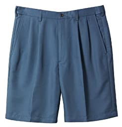 Haggar Cool 18 Performance Wear Pleated Shorts 44 Blue