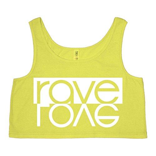 Rave Love Bright Neon Yellow Womens Crop Tank – Medium / Large