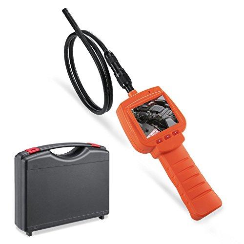 デプステッチ DEPSTECH 工業用内視鏡 ファイバースコープ ウェブカメラ 30万画素 9.0MMレンズ 2.4インチ液晶モニター付き 1Mホース LEDライト4灯搭載 オレンジ