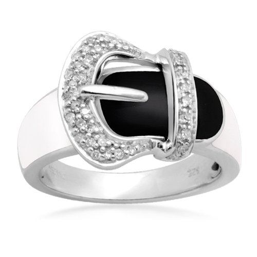 Sterling Silver Black White Enamel Buckle Diamond Ring (1/10 cttw, I-J Color, I2-I3 Clarity), Size 6