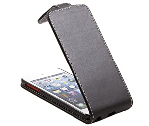iTALKonline BLACK FlipMatic Easy Clip On Vertical Flip Pouch Case Cover with Holder for Apple iPod Touch 5th Generation (5G)