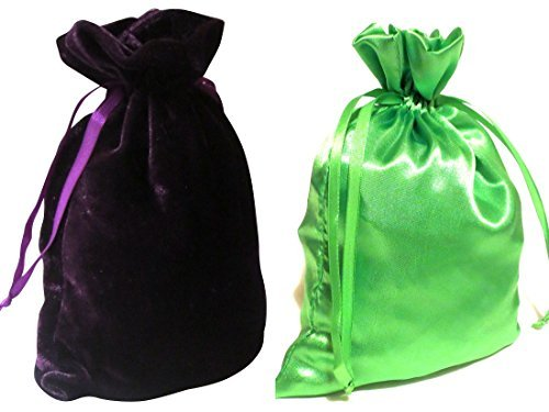 Tarot Bags: Dark Purple Velvet and Lime Green Satin Luxurious Duo Bundle 6 X 9""