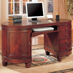 Buy Low Price Comfortable Home Office Kidney Shaped Computer Desk in Deep Brown Cherry Finish by Coaster Furniture (B0052ZMESE)