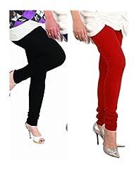 Lux Womens Churidar Cotton Leggings (Set Of 2) - L 12-11