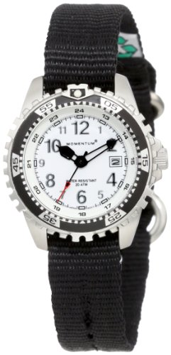 Momentum Women's 1M-DV01W8B M1 White Dial Black Re-Ply Nylon Dive Watch