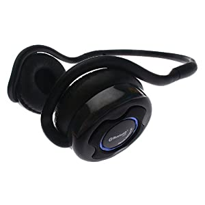 7dayshop R7 Sport Series Bluetooth Wireless Stereo Headphones - Built in Mic - Ideal for use with iPads, iPhone , Tablets, Smartphones, laptops and PC's using VOIP and SKYPE - Black - Eco Packaging & Travel Carry Case Included