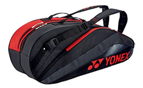 Yonex (YONEX) 6 Racquet bag (backpack included) (6 tennis for) black / red BAG1432R187 BAG1432R