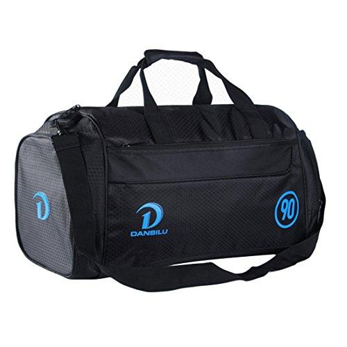iTECHOR Grande capacità sacchetto di nylon di corsa della spalla del sacchetto di Duffle Borsa Deposito Bag - Blue Pattern