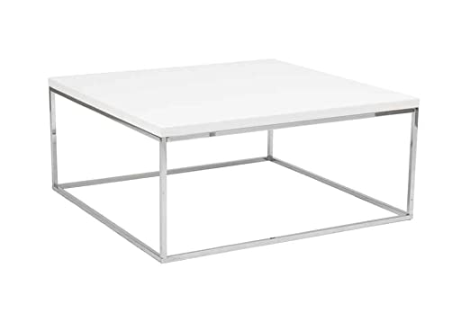 Eurostyle Teresa Square 35x35 Coffee Table in White Lacquer & Stainless Steel