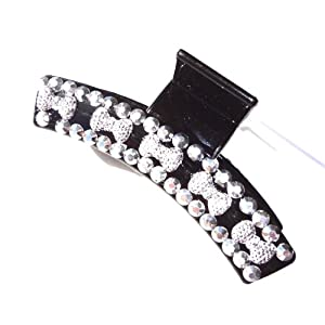 Decorative Hair Claw Clip Jaw One Flashy Rhinestone Hair Clip Silver Bling 3.75