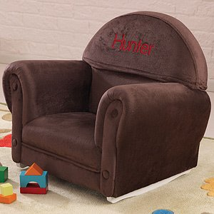 Personalized Upholstered Kids Rocking Chair Brown