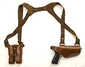 Colt 1911 Horizontal Shoulder Holster With Double Magazine Case for Colt 1911 and Clones - Fits Men & Women Size Medium to Large