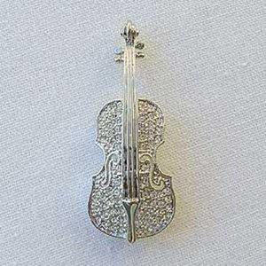Platinum-Plated Swarovski Crystal Violin Design Brooch/Pin