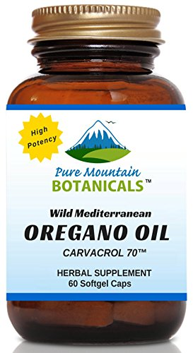 High Potency Wild Oregano Oil - 60 Vegetarian Capsules - Now with 510mg Mediterranean Oil of Oregano (70% Carvacrol) by Pure Mountain Botanicals (Oregano Oil Extract Capsules compare prices)