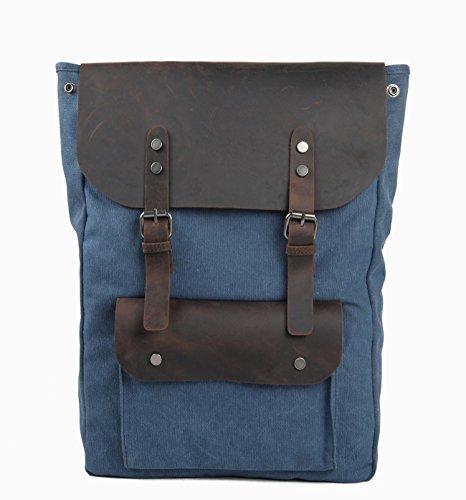 iBaste Sac à dos en toile sac de loisir cartable sac de voyage pour sacoche PC portable spécial sac rétro multifonction élégant étudiants sac unisexe (Bleu)
