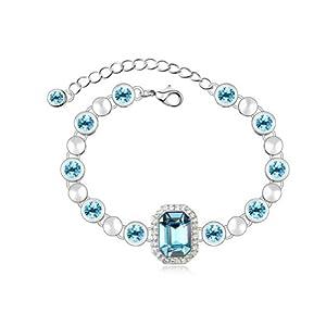 Mondaynoon Swarovski Elements Crystal Bracelets for Women Rhine Bank (sea blue)