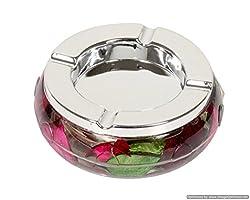 Contemporary Floral Round Ashtray - Multicolor
