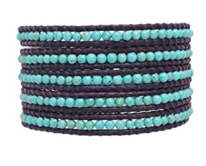 Chan Luu Turquoise Wrap Bracelet on Purple Leather