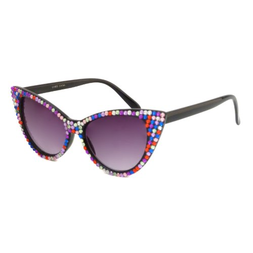 CAT EYE Womens Vintage 60s Party Style Sunglasses With Rhinestone MULTI-COLOR