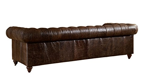 Crafters and Weavers Top Grain Vintage Leather Chesterfield Sofa 4