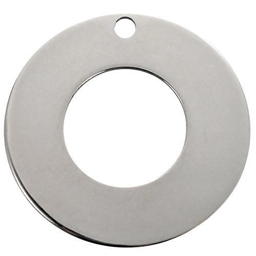 VALYRIA 20pcs Silver Tone Stainless Steel Stamping Blanks Tags Donuts Ring Charm Pendant 20mm(6/8