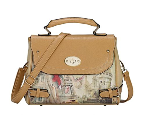 Ymb Women'S New Design Vintage Print Pattern Shoulder Bag Casual Party Handbag Khaki front-1043160