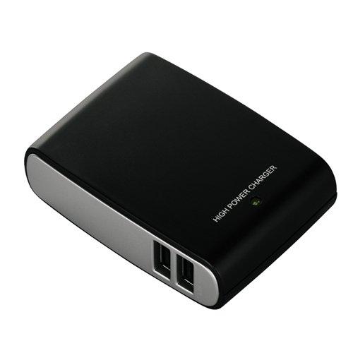 iBUFFALO+【iPadmini%2CiPad(Retinaディスプレイ)%2CiPhone5%2CiPhone4S動作確認済】+USB充電器2A対応+iPad%2FiPhone急速充電対応4ポート+ブラック+BSIPA09BK
