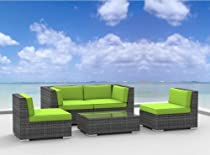 Hot Sale Urban Furnishing - RIO 5pc Modern Outdoor Backyard Wicker Rattan Patio Furniture Sofa Sectional Couch Set - Lime Green