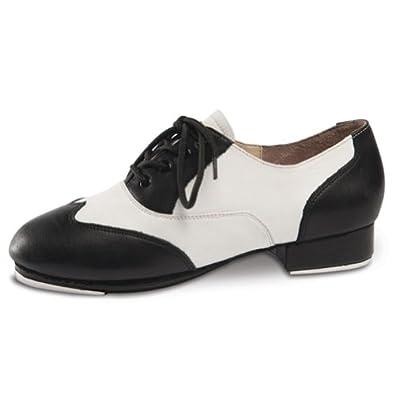 danshuz womens black white saddle style tap