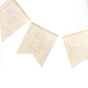 Set of 2 100% Natural Jute Burlap Pennant Banners for Party Decor, Weddings, and Crafting by Unknown