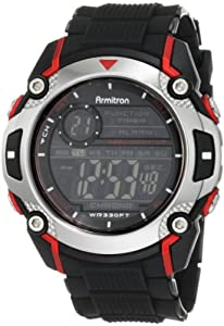 Armitron Sport Men's 408232RED Chronograph Black Resin Strap Watch