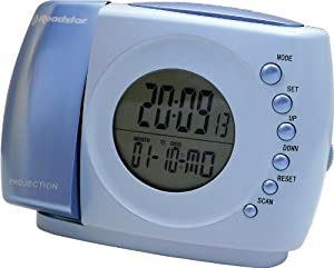 roadstar battery operated projection clock radio with fm scan radio tv. Black Bedroom Furniture Sets. Home Design Ideas