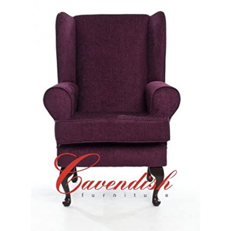 Cavendish Furniture Orthopedic High Seat Chair in Chenille, Purple/Plum, 19-Inch