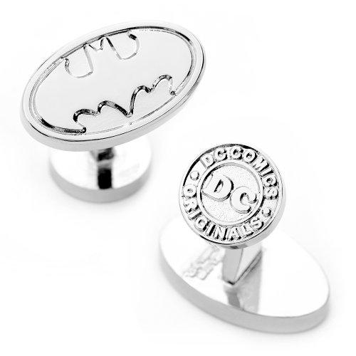 DC-Comics-Mens-Oval-Batman-Logo-Cufflinks-Silver
