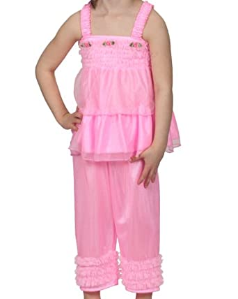 Amazon.com: Laura Dare Girls Fuchsia Ruffle Pajamas Sleepwear Set 6M