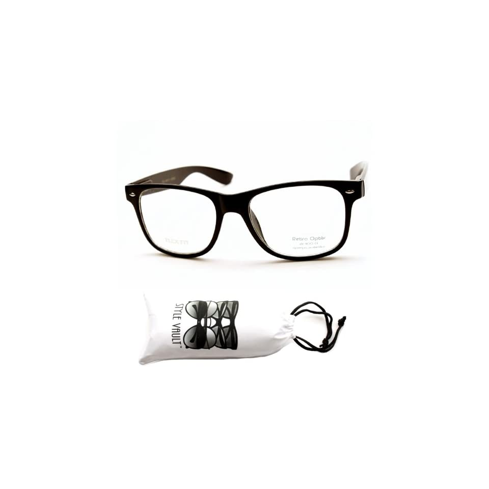 Kd222 vp Style Vault Kids Child Clear Lens Black Wayfarer Sunglasses +Sv Pouch