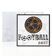 Denim Stitched Football Birthday Card