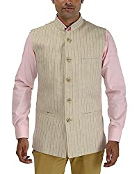 Panache Linen Men's Nehru Jacket (Cream,44)