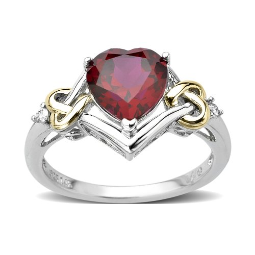 Sterling Silver and 14k Yellow Gold Diamond and Heart-Shaped Created Ruby Ring (0.03cttw, I-J Color, I3 Clarity), Size 6