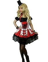 Yummy Bee Alice in Wonderland Costume Queen of Hearts + Gloves + Top Hat Deluxe Fancy Dress Plus Size 6 - 22 (Women: 10-12)