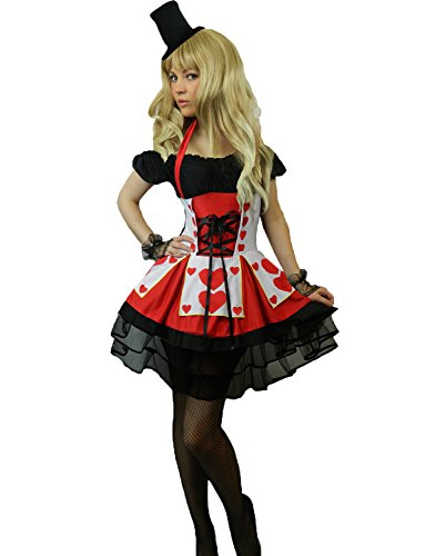 Yummy Bee Queen of Hearts Costume + Gloves + Top Hat Womens Cosplay Plus Size 2-18