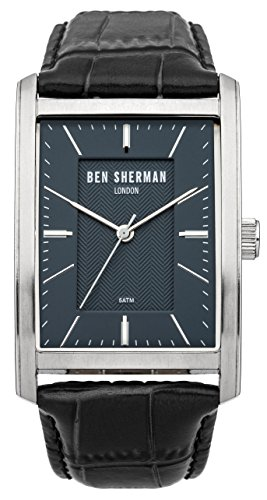 Ben Sherman Men's Quartz Watch with Blue Dial Analogue Display and Black Leather Strap WB013U