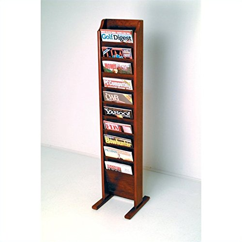 Wooden Mallet 10-Pocket Cascade Free-Standing Magazine Rack, Mahogany