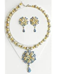 Blue With White Stone Studded Necklace And Earrings - Stone, Bead And Metal