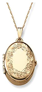 14k Yellow Gold Engraved Oval 4-Picture Locket, 20