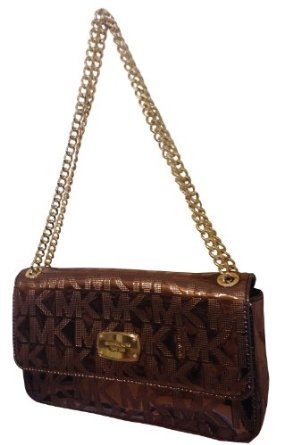 MICHAEL Michael KorsMichael Kors MK Mirror Metallic Jet Set Chain Small Shoulder Flap Bag Handbag Purse Cocoa