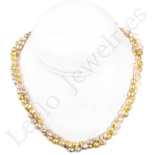 2 Strands Fresh Water Pearl Necklace - approx. 18 inches (Light Yellow & Light Pink)